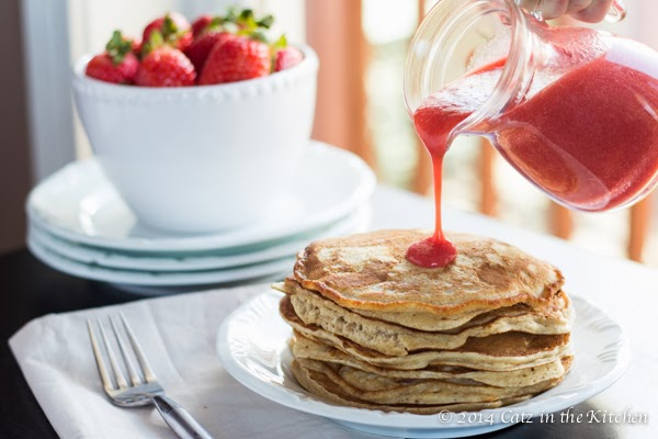 Whole Wheat Pancakes with Strawberry Sauce - Catz in the ...