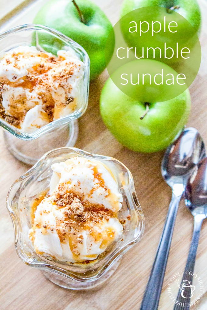 Cooked apples, crunchy crumble, drizzled caramel sauce, and creamy vanilla ice cream equal a seriously yummy apple crumble sundae recipe!