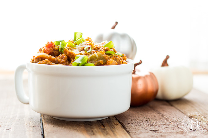 If this hearty and mellow recipe for pumpkin slow cooker turkey chili doesn't get you in the fall spirit, I don't know what will!