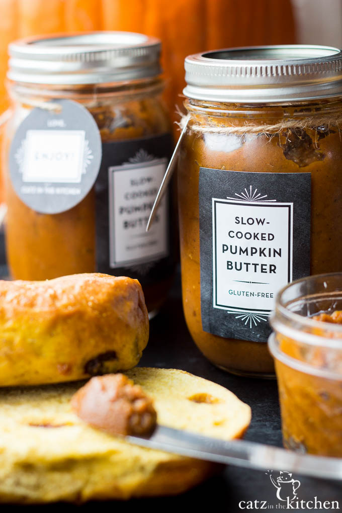 This Slow-Cooker Pumpkin Butter recipe is festive, yummy, gluten-free, and great as a gift! It's also super easy to make - just throw it in the crockpot!
