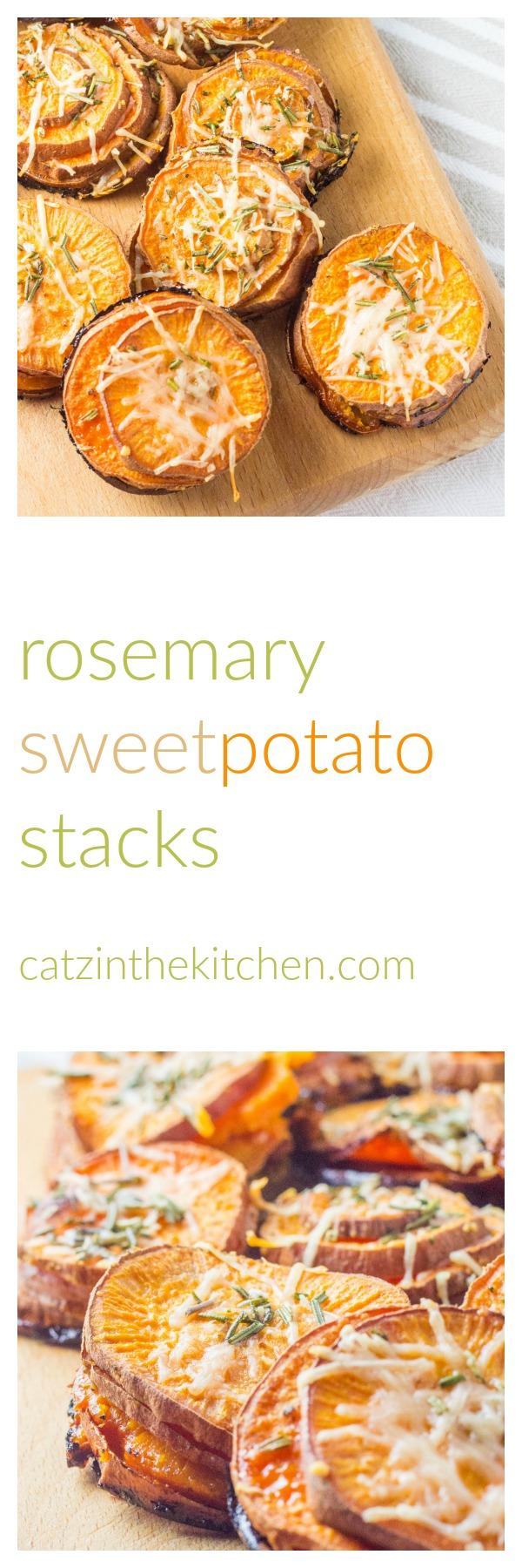 Rosemary Sweet Potato Stacks | Catz in the Kitchen | catzinthekitchen.com | #sweetpotatoes #rosemary #recipe