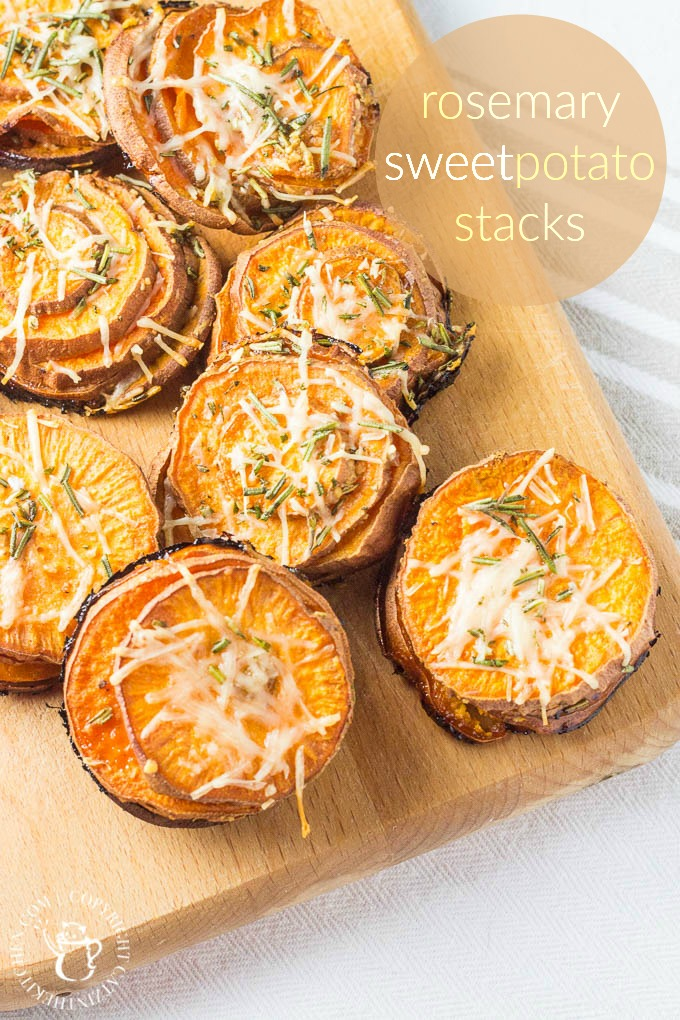 This recipe for rosemary sweet potato stacks is quick, easy, snacky, kid-friendly, and healthy! What more can you ask for in a side dish?