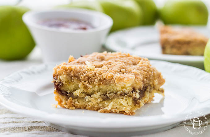 This slightly savory (but mostly sweet) brunch recipe for Irish Apple Butter Coffee Cake is full of warm apple flavor and lots of wonderful spices!