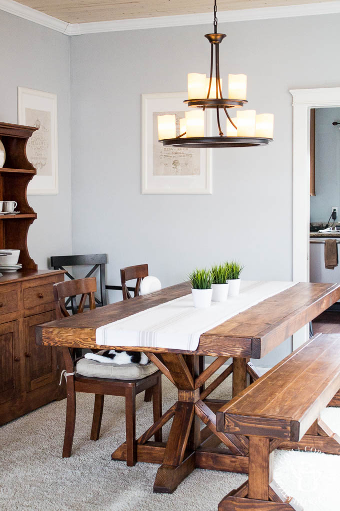 DIY Farmhouse Formal Dining Table - Catz in the Kitchen