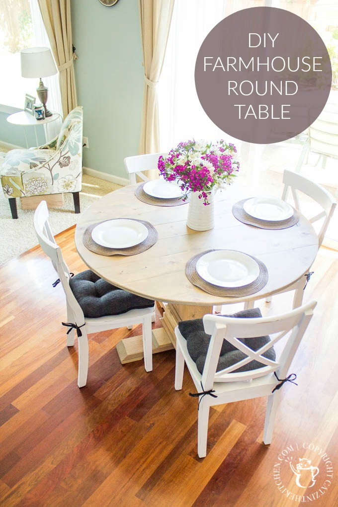 Diy Farmhouse Round Table Catz In The Kitchen