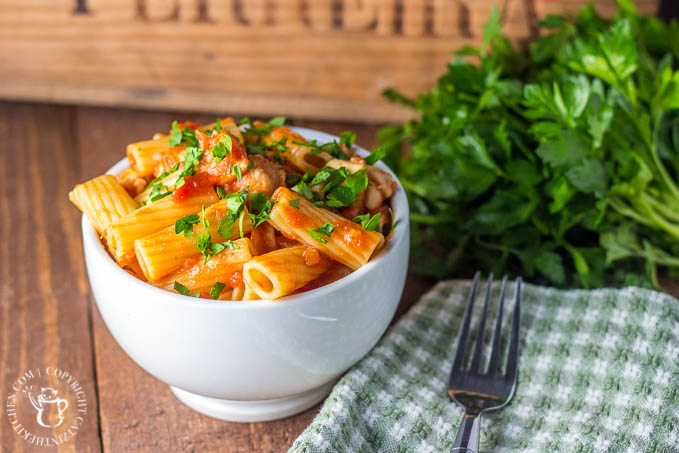 Make this recipe when it's cold outside and you're hungry inside! Chicken Rigatoni is easy, quick, flexible to what you have on hand, and yummy!