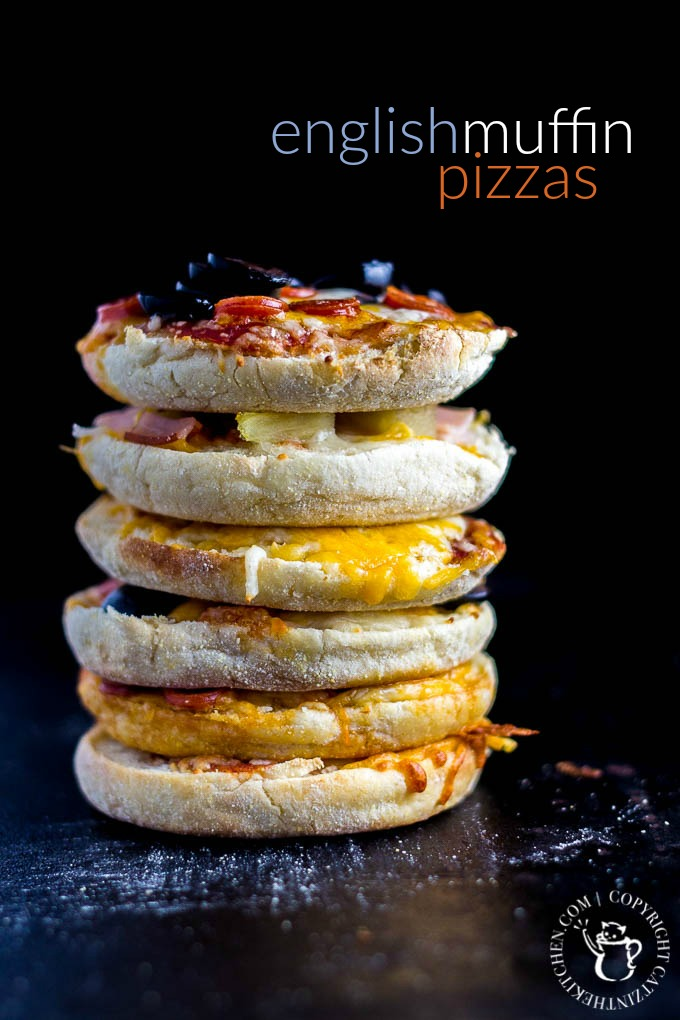 These fun, easy, quick English muffin pizzas are a family favorite - we make them all the time! The kids love designing their own mini pizza masterpieces!