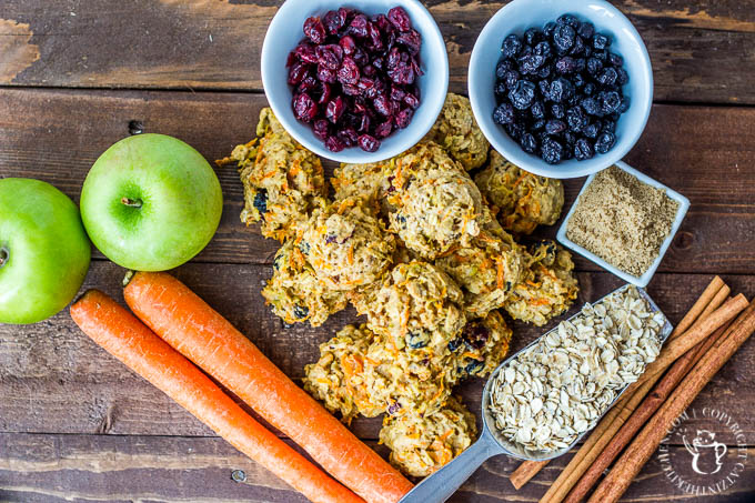Carrots, apples, oats, blueberries, cranberries, walnuts, cinnamon and a bit of brown sugar make these healthy cookies amazing & safe for indulging!