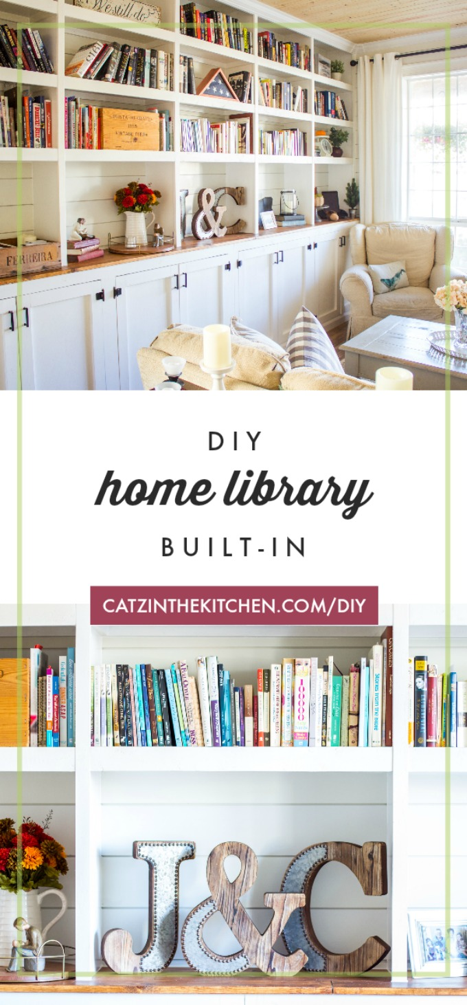 A DIY home library built-in adds a lot of character to a blank wall, but it's also incredibly functional, especially with cabinets underneath for storage!