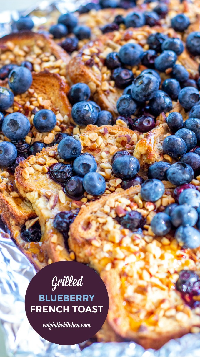 Made on the grill or the campfire, this Grilled Blueberry French Toast is smoky & decadent, but still fresh and sweet, thanks to the blueberries and syrup!