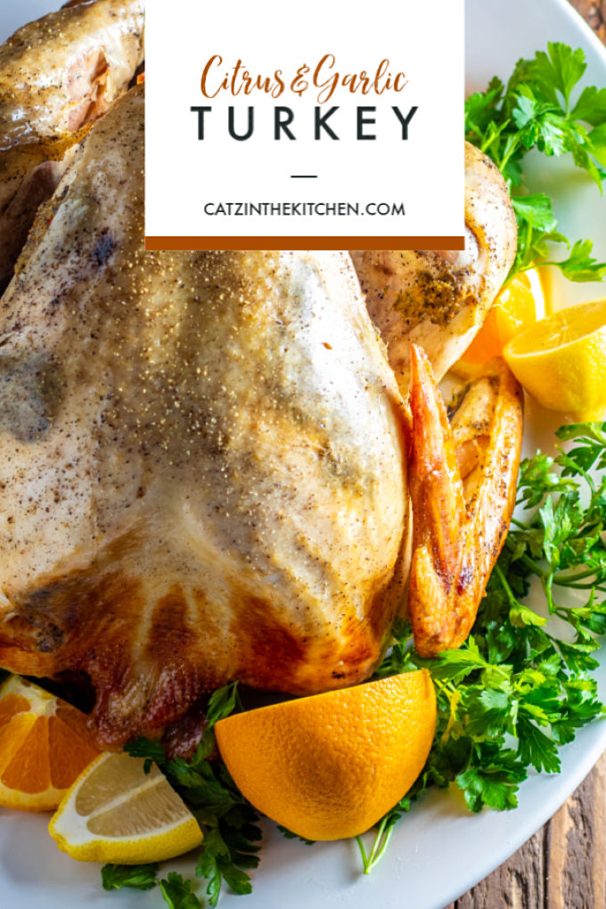 With some easy additions for enhanced flavor, this citrus & garlic turkey is simple, straightforward preparation for a classic Thanksgiving bird.