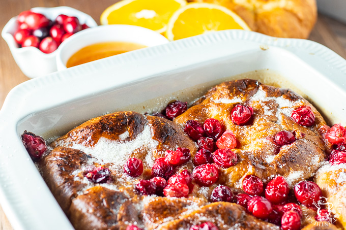 This baked cranberry orange croissant French toast is one of those dishes that comes out gourmet-looking and sophisticated, but is actually absurdly simple!
