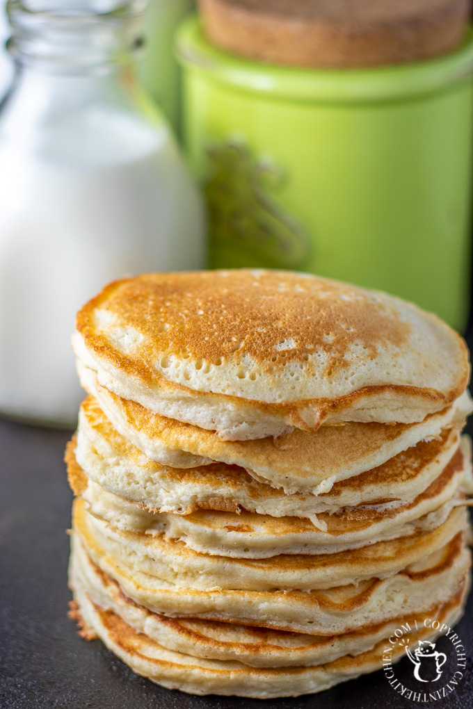Fluffy & light, with a touch of sugar, vanilla, & creaminess in each bite, these sweet cream pancakes are a level up from traditional buttermilk flapjacks.
